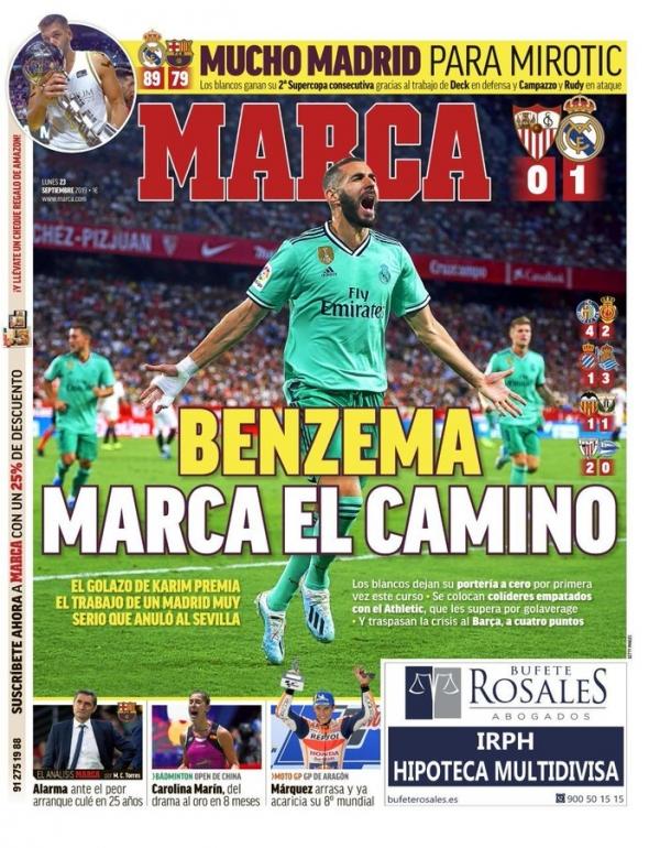 صحف إسبانيا تنشغل بتألق بنزيما وأزمة برشلونة