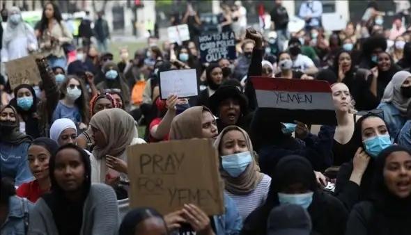 احتجاجات في لندن ضد بيع بريطانيا الأسلحة للسعودية والإمارات