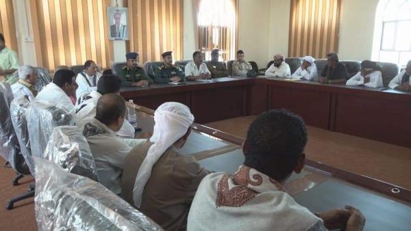 اجتماع برئاسة مدير عام مديرية الغيضة يناقش القضايا الأمنية والتصدي للظواهر السلبية