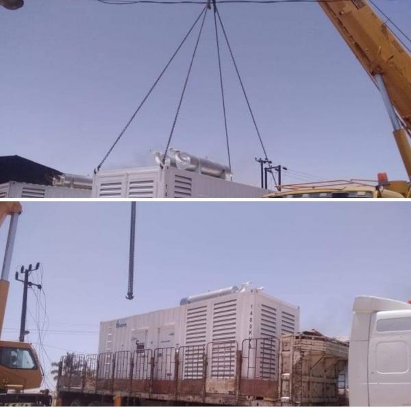 """محطة كهرباء حصوين تتسلم مولد كهربائي بقوة """"1400"""" kva ، بتمويل من السلطة المحلية"""